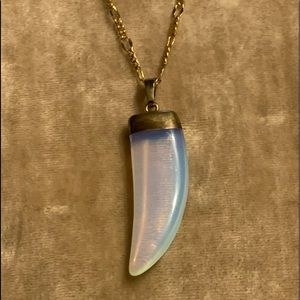 Opal Horn Pendant with Gold Chain Necklace NEW